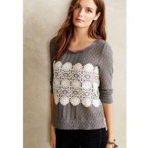 Anthropologie Meadow Rue Gray Knit & Crochet Top